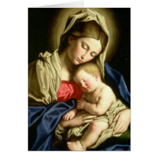 Cartão santamente fúnebre | Madonna & criança