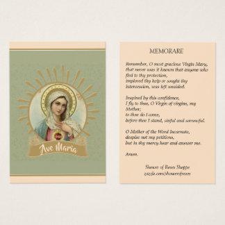 Cartão santamente imaculado de Mary Memorare