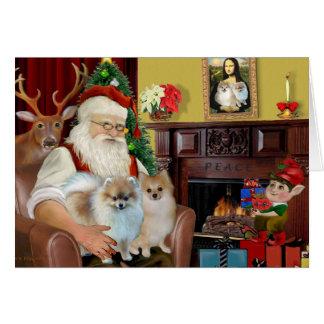 Cartão Santa'sTwo Pomeranians
