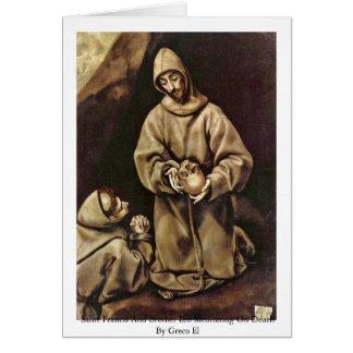 Cartão Santo Francis e irmão Leo que Meditating na morte