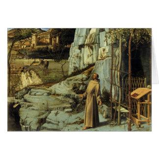 Cartão Santo Francis no deserto por Giovanni Bellini