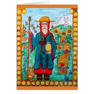 Cartão Santo Gobnait (Abigail) de Ireland - apicultor