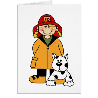 Cartão Sapador-bombeiro da menina com Dalmation