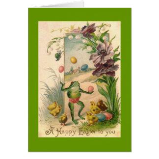Cartão Sapo de mnanipulação da páscoa do vintage
