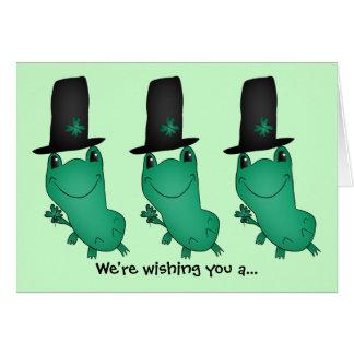 Cartão Sapo do dia do St Patrick de Cassie com trevo