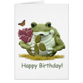Cartão Sapo do feliz aniversario