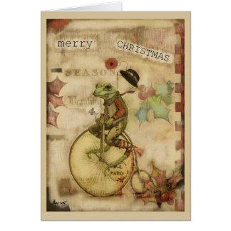 Cartão Sapo do vintage no Natal do chapéu de jogador da