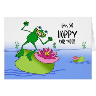 Cartão Sapo Hoppy do aniversário, o feliz e o engraçado