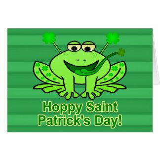 Cartão Sapo irlandês bonito do dia de Patrick de santo
