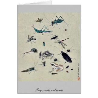 Cartão Sapos, caracóis, e insetos