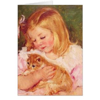 Cartão Sara que guardara seu gatinho por Mary Cassatt