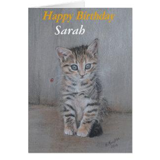 Cartão Sarah, gatinho art. do feliz aniversario