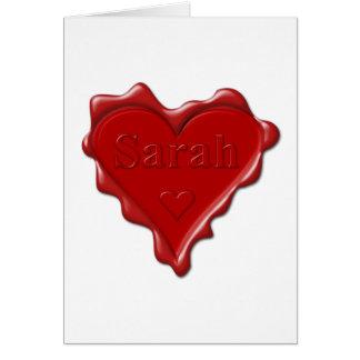 Cartão Sarah. Selo vermelho da cera do coração com Sarah