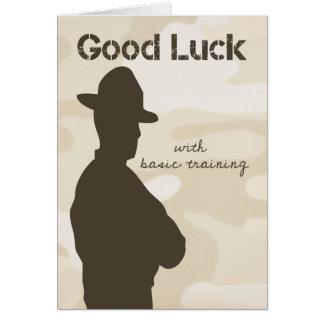 Cartão Sargento de broca silhueta com boa sorte da
