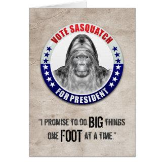 Cartão Sasquatch para o presidente