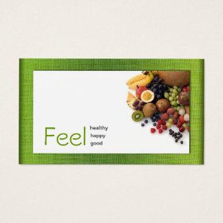 Cartão saudável branco simples de linho do verde