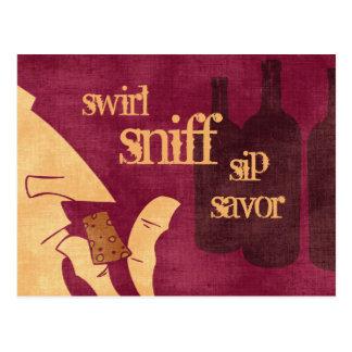 Cartão Savoring do vinho