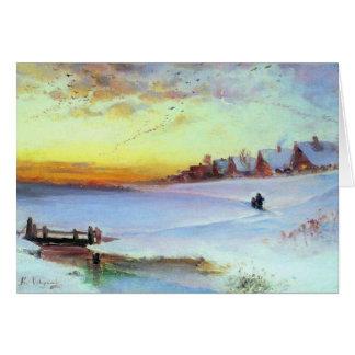 Cartão Savrason - paisagem do inverno (aproximação