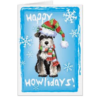 Cartão Schnauzer diminuto feliz de Howlidays