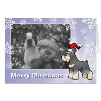 Cartão Schnauzer gigante/padrão/diminuto do Natal