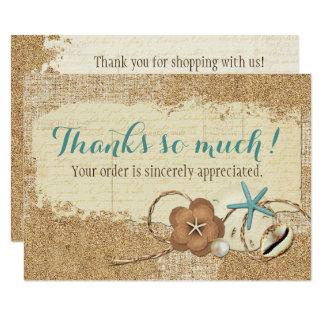 Cartão Seashell da praia & obrigado náuticos do boutique