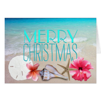 Cartão Seashells tropicais e Natal da mensagem das flores