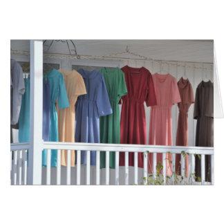 Cartão Secando a lavanderia de Amish
