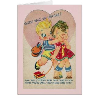 Cartão secreto dos namorados do vintage