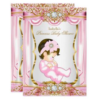 Cartão Seda triguenha bonito do rosa da princesa chá de