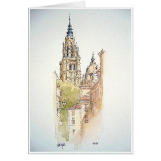 Cartão Segovia, Toledo. Pintura da aguarela