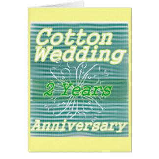 Cartão Segundo algodão do ~ do aniversário de casamento