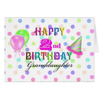 Cartão Segundo aniversário de Polkadot da neta