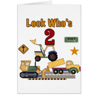 Cartão Segundo aniversário dos veículos da construção