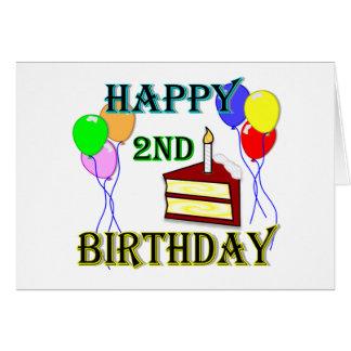 Cartão Segundo aniversário feliz com bolo, balões e vela