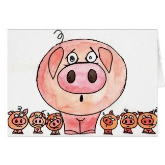 Cartão Seis porcos pequenos