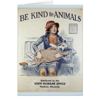 Cartão Seja amável aos animais - no escritório do