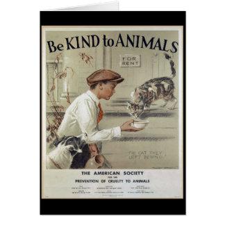 Cartão Seja amável aos animais - poster vintage