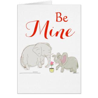 Cartão Seja meu - elefantes