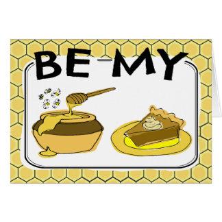 Cartão Seja meus namorados da torta do mel