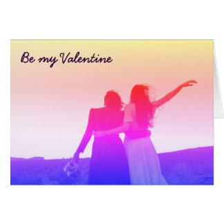 Cartão Seja meus namorados (lésbica/bisexual)
