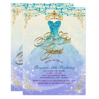Cartão Seja nosso partido da princesa Aqua Roxo Doce 16