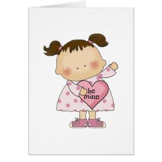 Cartão seja pequeno da menina do cutie dos namorados da