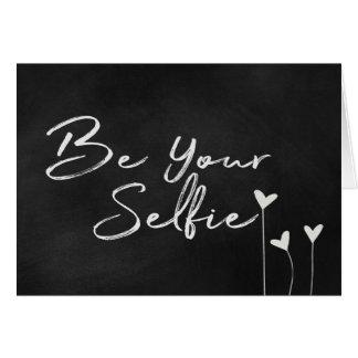 Cartão Seja seu texto de Selfie no quadro