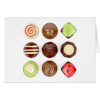 Cartão Seleção de doces de chocolate