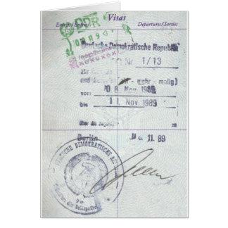 Cartão Selos do visto & da entrada de East Germany