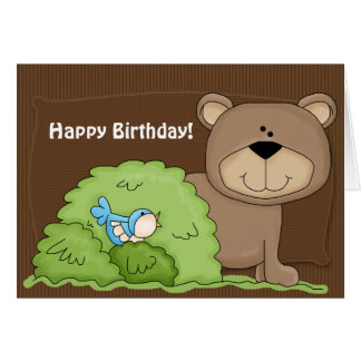 Cartão selvagem do feliz aniversario de Beary das