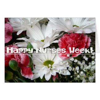 Cartão Semana das enfermeiras! - Flores bonitas no rosa e