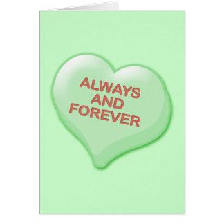 Cartão Sempre e para sempre coração dos doces