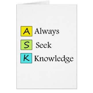 Cartão sempre um conhecimento da busca k de s