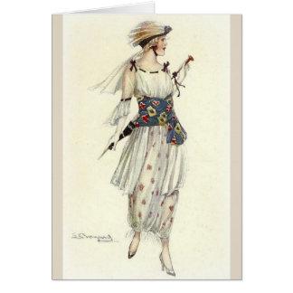 Cartão Senhora à moda Para fora para uma caminhada,